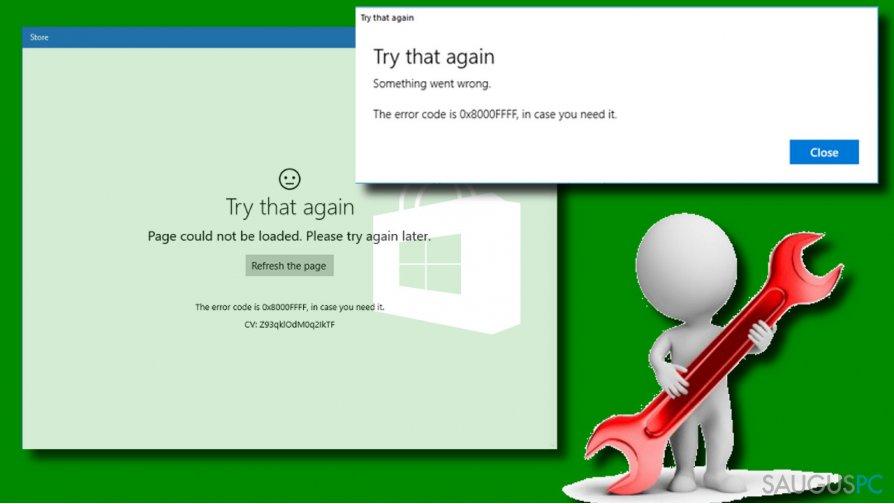 0x8000FFFF error on Windows Store