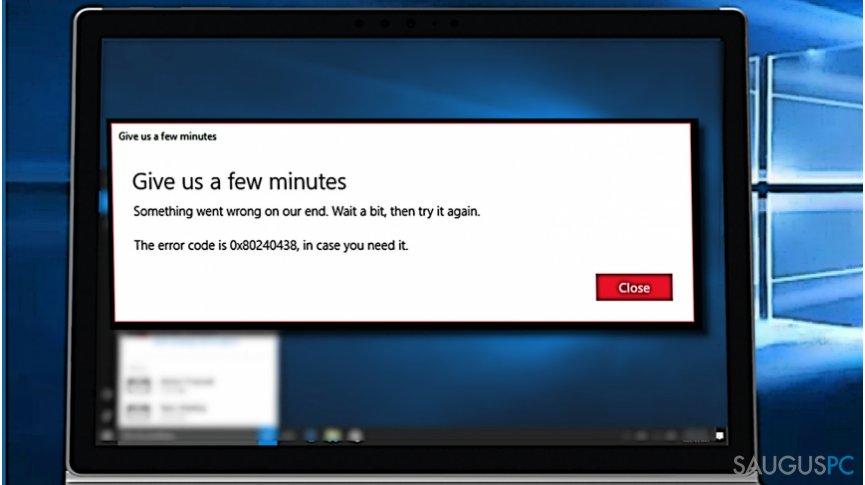0x80240438 Windows 10 klaidos šalinimas