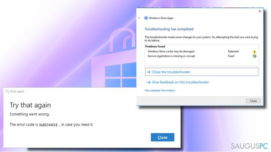 Windows klaida 0x80244018