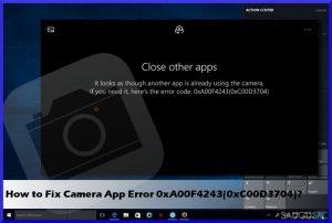 Kaip pašalinti kameros klaidą 0xA00F4243(0xC00D3704) iš Windows?