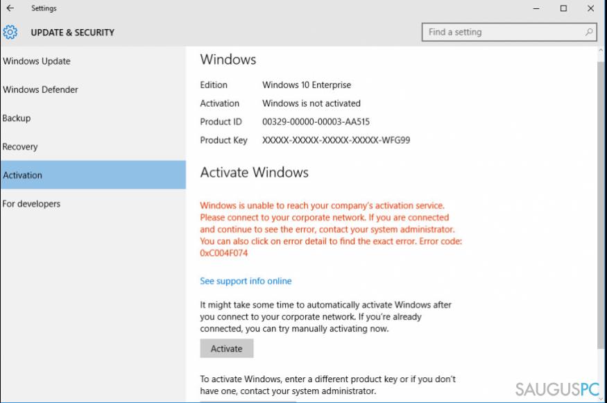 Klaidos žinutė Error Code 0xC004F074 on Windows 10
