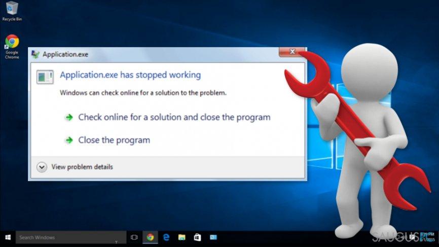 """Kaip ištaisyti """"Application.exe has stopped working"""" klaidą"""