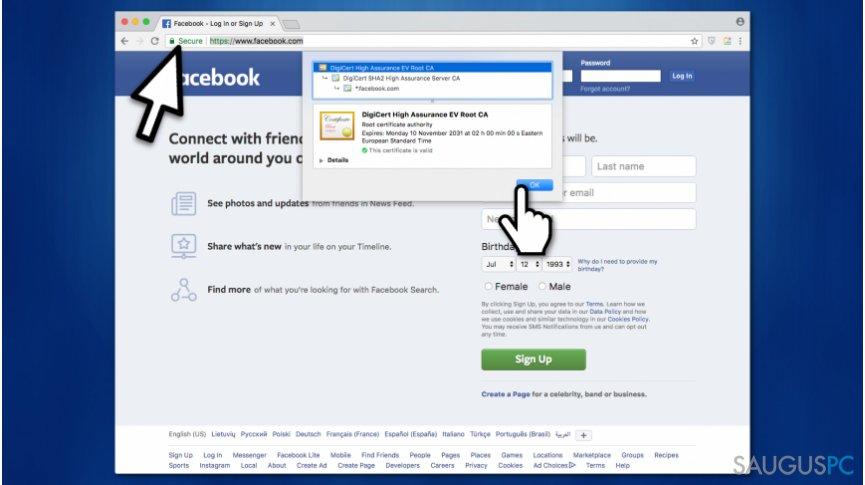 Sutvarkykite Safari can't establish a secure connection problemą, patikrindami ar lankomas puslapis saugus