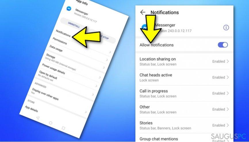 Išjunkite Messenger pranešimus per Android nustatymus