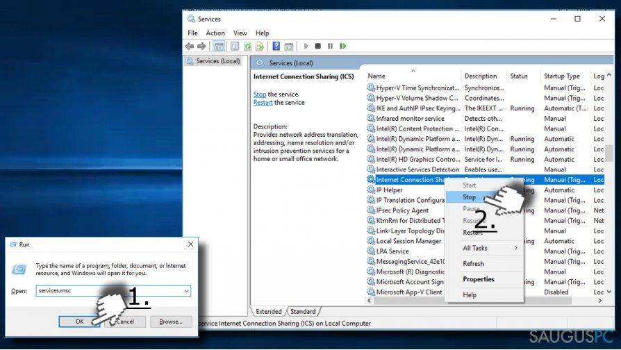 Sustabdykite Windows procesus