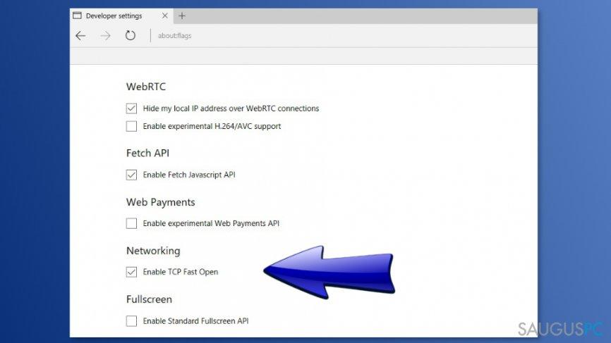 TPC Fast Open funkcijos išjungimas