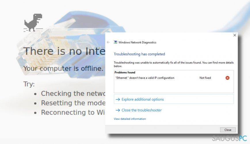 """Ethernet doesn't have a valid IP configuration"" klaida"