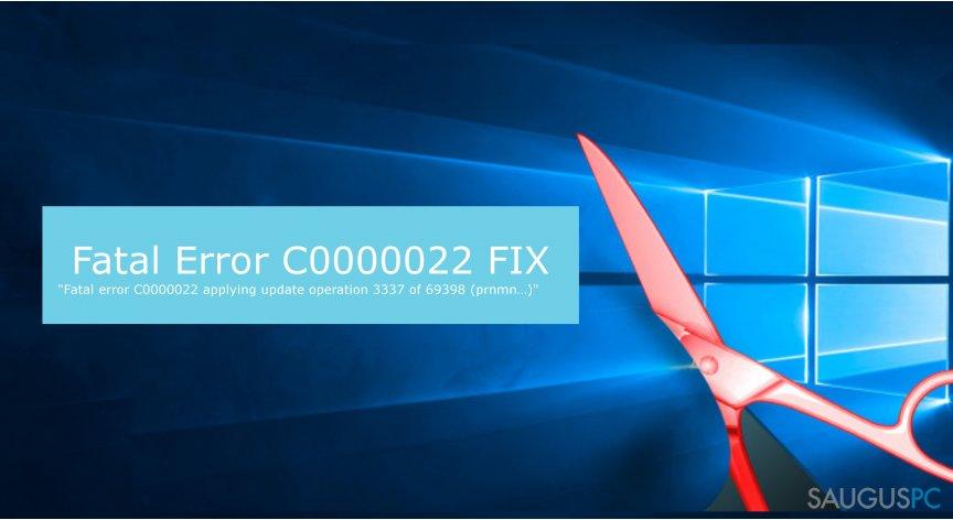 Fatal Error C0000022 klaidos iliustracija