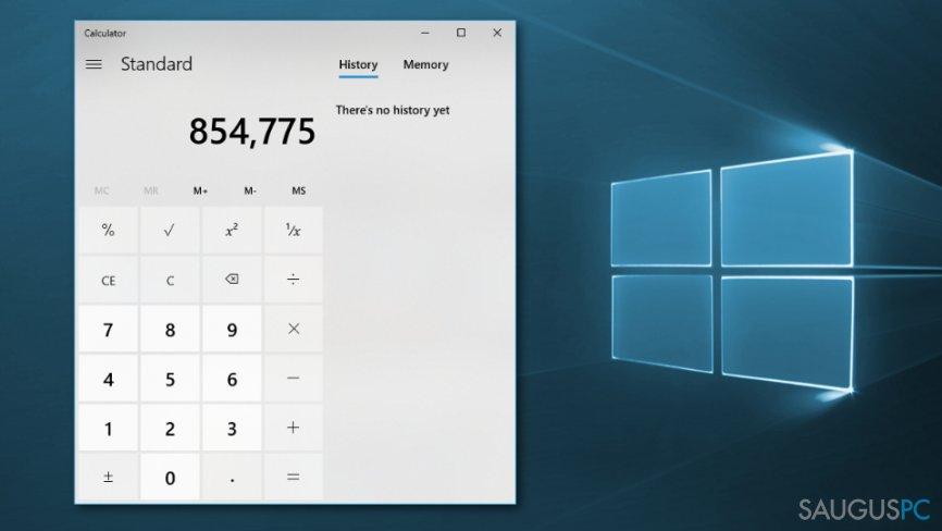 Būdai pataisyti Windows 10 skaičiuotuvą