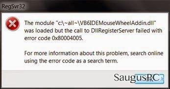 Error code 0x80004005 ekrano nuotrauka