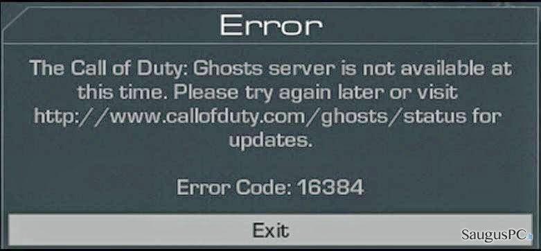 Error Code 16384 ekrano nuotrauka