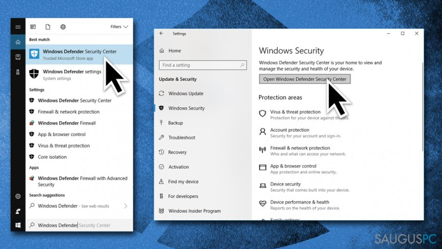 Eikite į Windows Security Center nustatymus