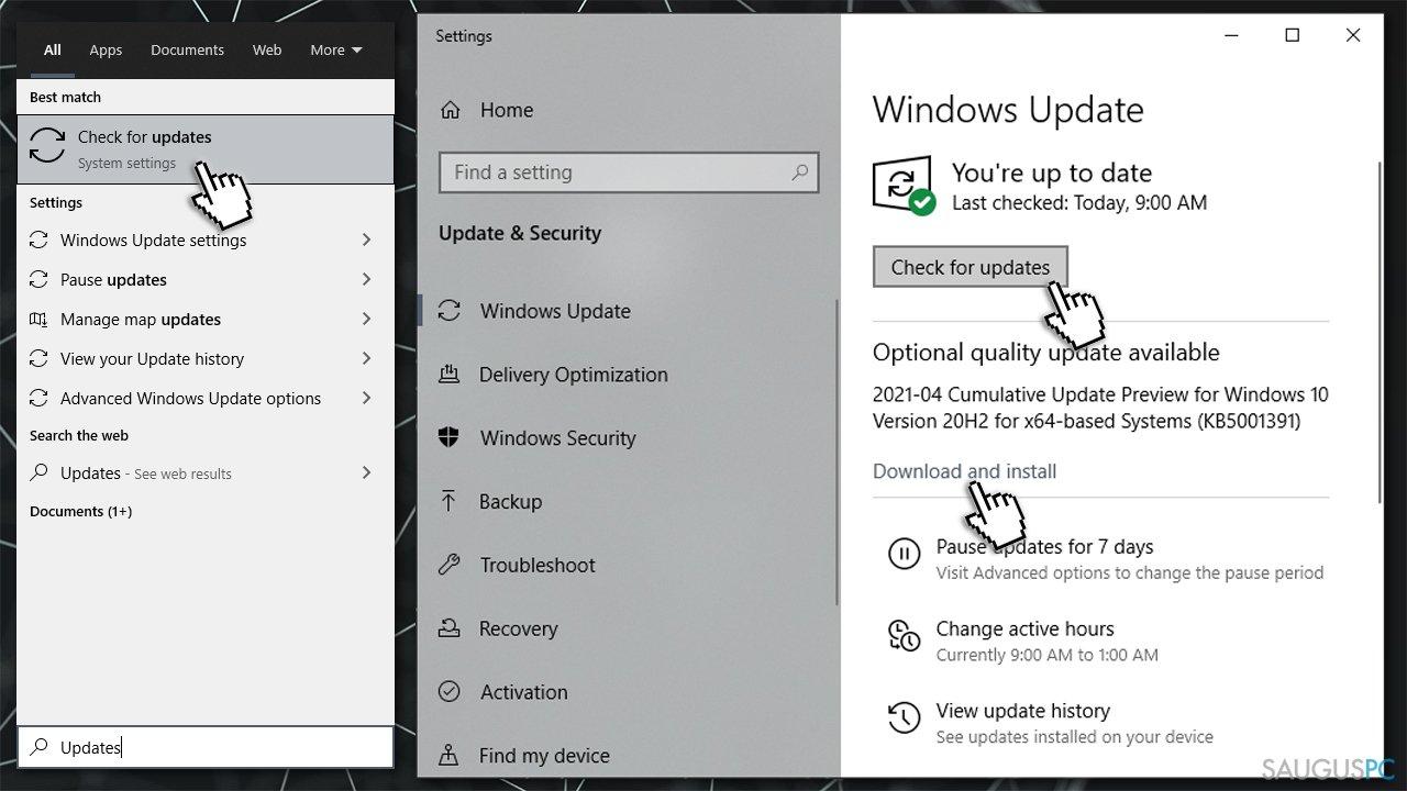 Įdiekite visus Windows atnaujinimus