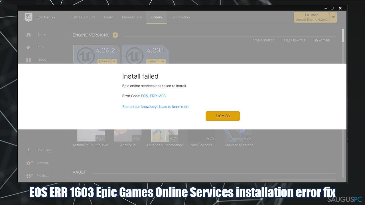 Kaip sutaisyti EOS ERR 1603 klaidą?