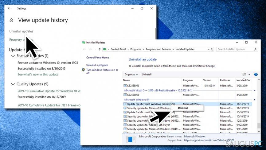 Atsidarykite Windows atnaujinimų istoriją