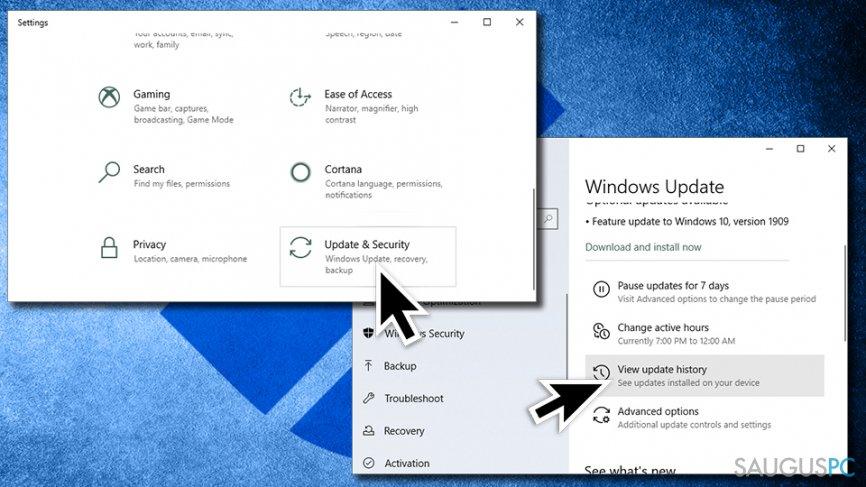 Patikrinkite Windows atnaujinimus