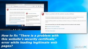 "Kaip ištaisyti ""There is a problem with this website's security certificate"" klaidą?"