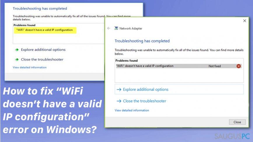 """WiFi doesn't have a valid IP configuration"" klaidos sutvarkymas"