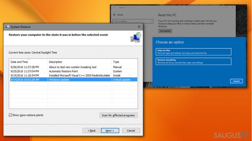 System Restore metodas gali padėti su 0x80244007 klaida