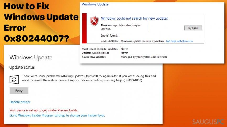 Kaip pašalinti Windows atnaujinimo klaidą0x80244007