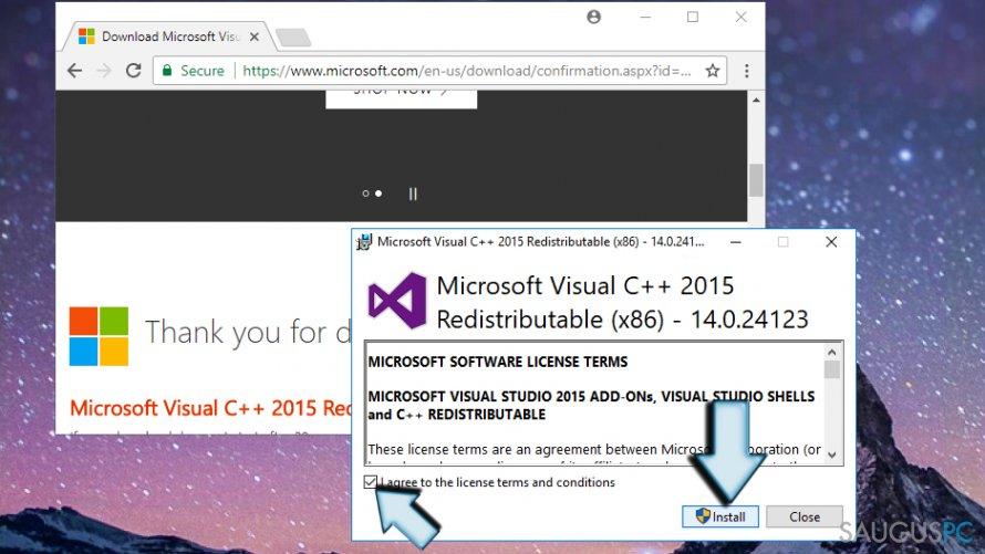 VCRUNTIME140.dll instaliavimas