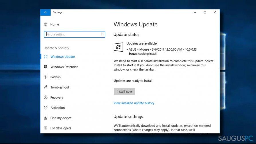 Atsisiųskite Windows naujinimus