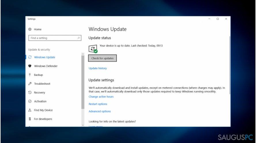 Naujausių Windows atnaujinimų atsiuntimas