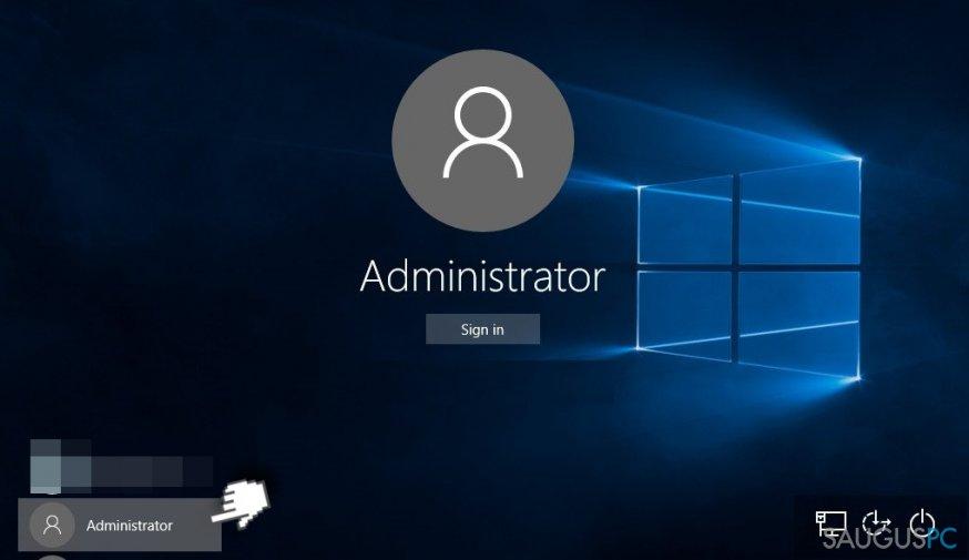 Administratoriaus profilis kompiuterio ekrane