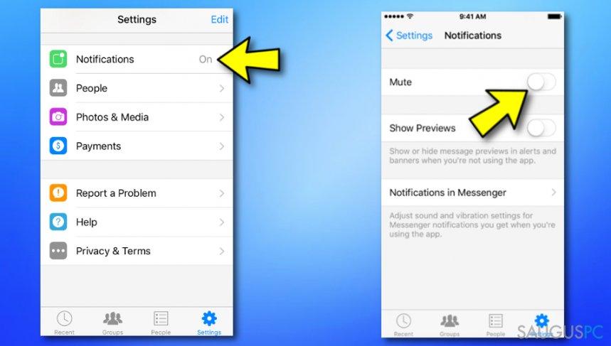 Išjunkite Messenger žinutes ant Apple prietaiso