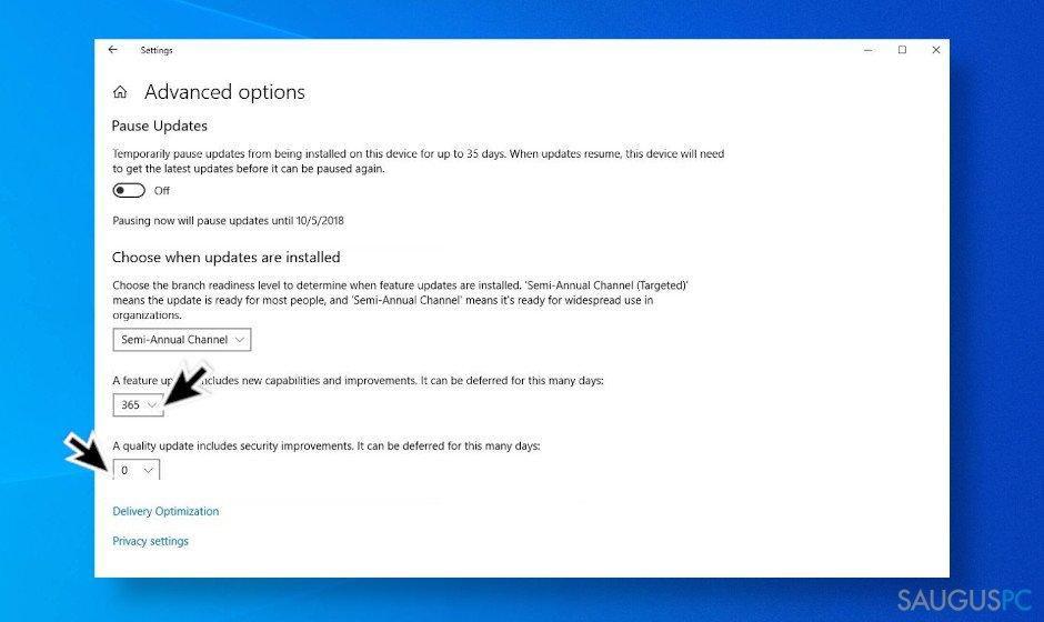 """Atidėkite """"Windows 10"""" naujinimus"""