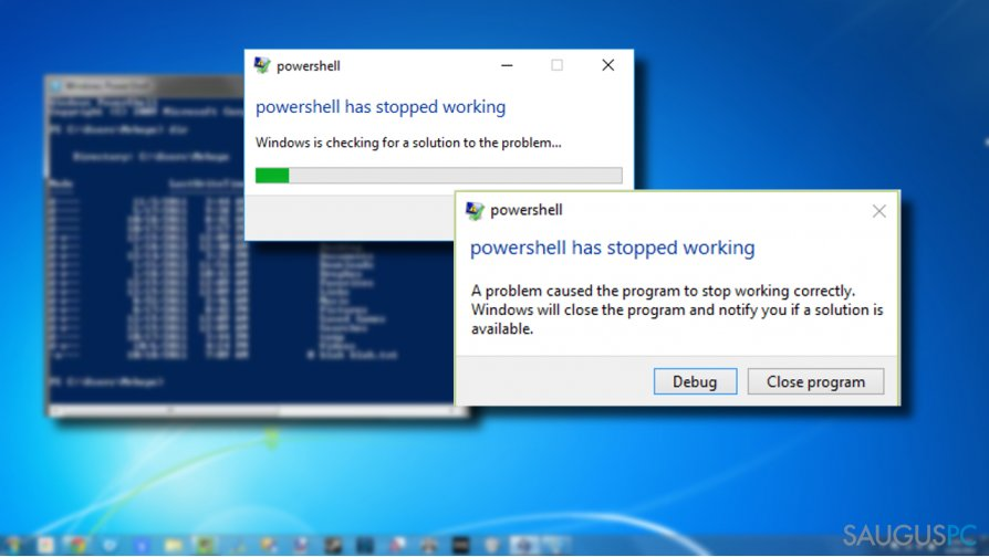 Windows PowerShell error message might be caused by different factors