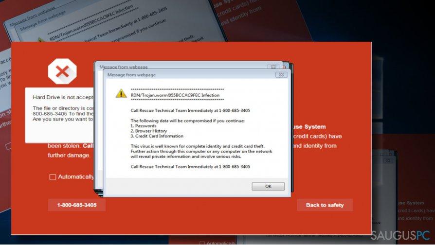 How to fix RDN/TROJAN.WORM!055BCCAC9FEC pop-up?
