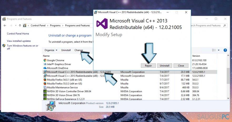 Microsoft Visual C++ 2015 Redistributable problemos taisymas