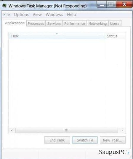 Task Manager ekrano nuotrauka