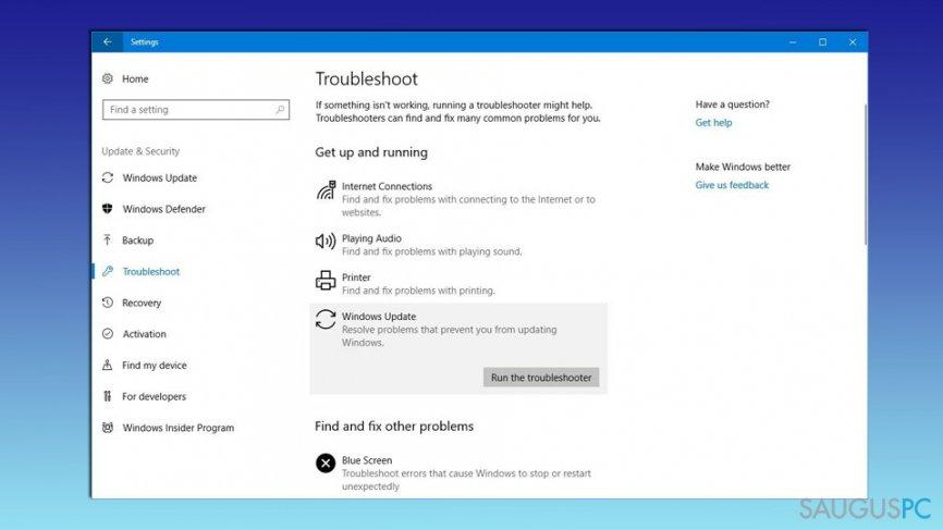 Pasinaudokite Windows Update Troubleshooter