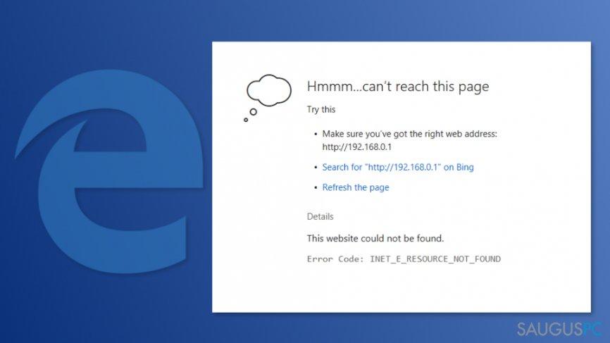 INET_E_RESOURCE_NOT_FOUND klaida kompiuterio ekrane