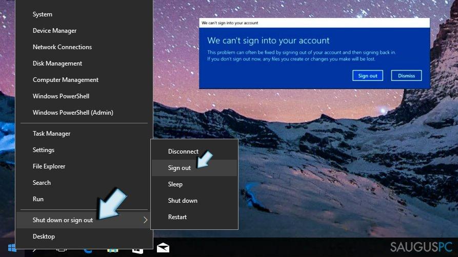Atsijungimas nuo Windows paskyros