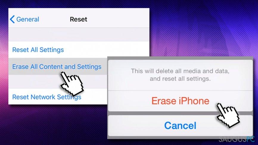 Atkurkite iPhone nustatymus