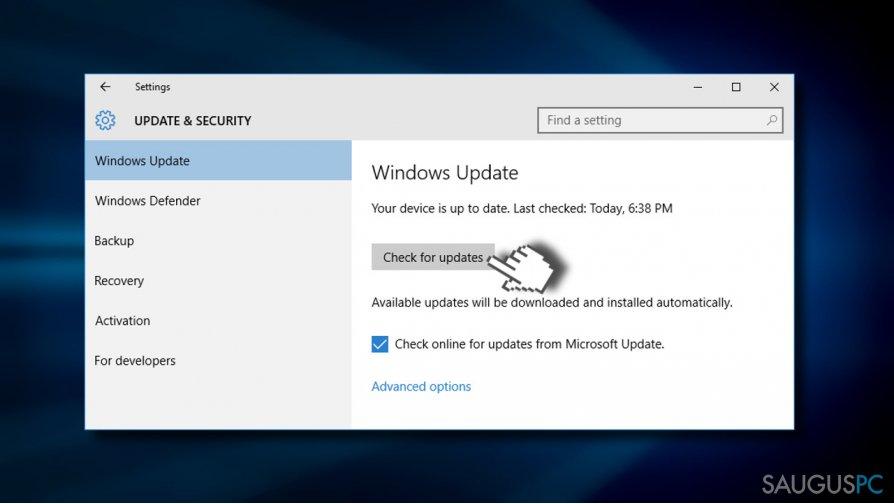 Windows atnaujinimų atsiuntimas