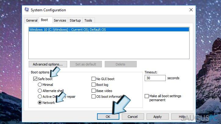 System Configuration funkcijos langas