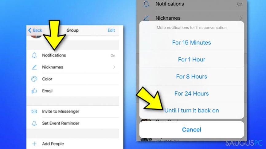 Sustabdykite grupinius pranešimus Messenger aplikacijoje