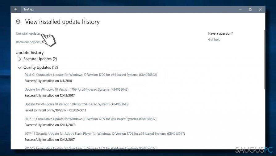 Uninstall the update