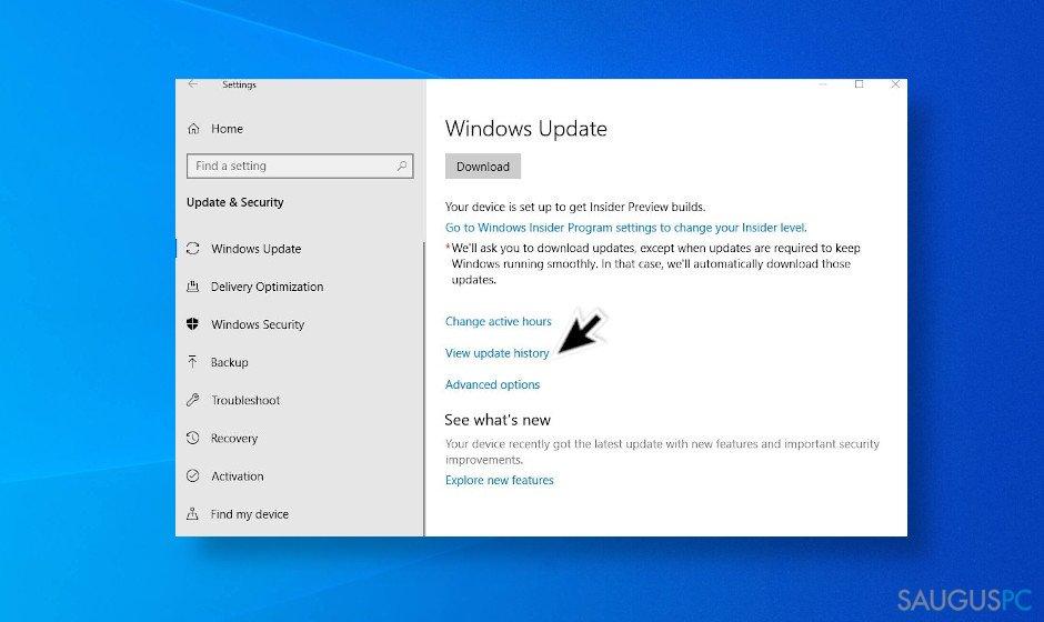 """Ištrinkite paskutinius """"Windows 10"""" naujinimus"""