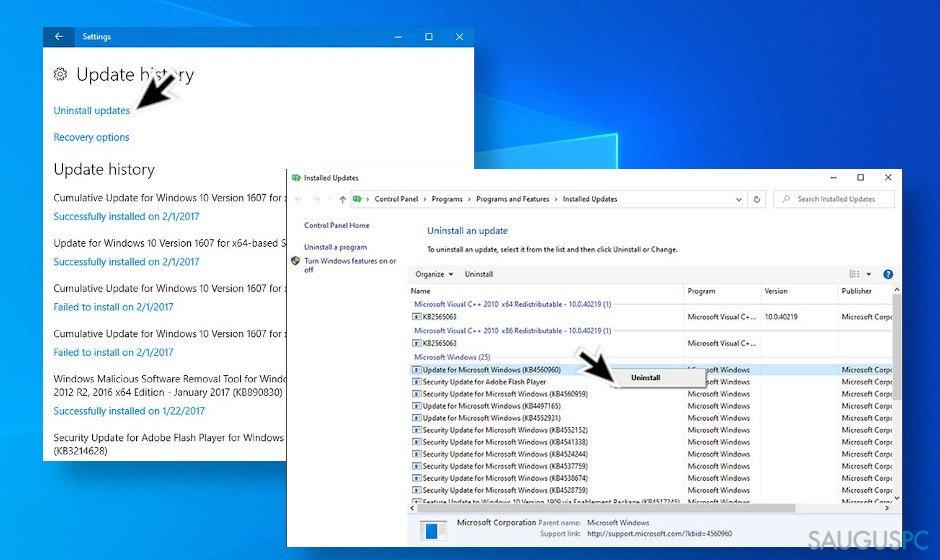"""Pašalinkite paskutinius """"Windows 10"""" naujinimus"""