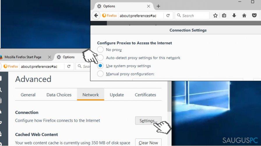 Check web browser's settings
