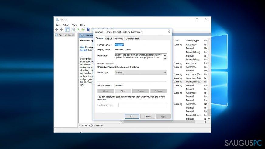 Windows Update funkcijos pakeitimas iš automatinio į rankinį