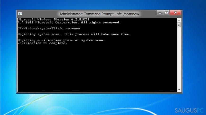 System File Checker paleidimas