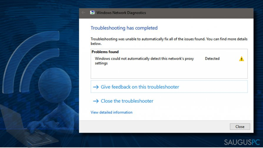 """How to Fix """"Windows could not automatically detect this network's proxy settings"""" on Windows 10?"""