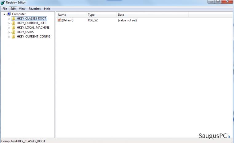 registry ekrano nuotrauka