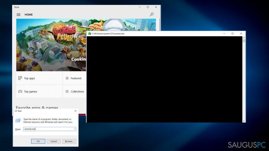 Windows Store nustatymas iš naujo